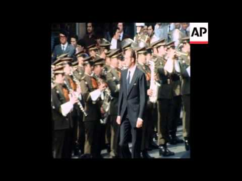 UPITN 24 9 76 KING JUAN CARLOS ARRIVES AT CORTES IN MADRID TO BE SWORN IN