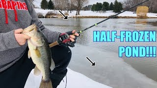 Catching Fish from a HALF-FROZEN Pond!!! (EXTREME WINTER FISHING)
