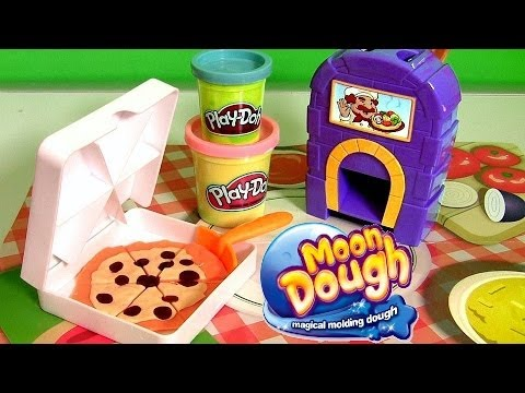 Thumbnail: Pizzeria Moon Dough Pan Pizza Playset with Magical Oven Toy - Play Doh Kitchen Baking Toy