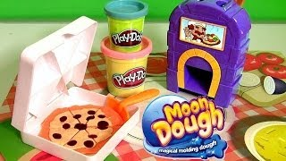 Pizzeria Moon Dough Pan Pizza Playset with Magical Oven Play Doh Plastilina Pizza de Molde