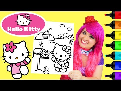 Coloring Hello Kitty Sanrio Coloring Book Page Colored Markers Prismacolor | KiMMi THE CLOWN