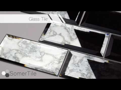 SomerTile l Lustre Beveled Antique Mirror
