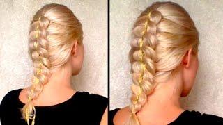 Французская коса с лентой из 4 прядей ❤ Прическа на средние, длинные волосы самой себе