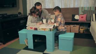 Ameriwood Home Jamie Folding Kids' Table and Ottoman Set