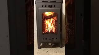 Огонь в дровяной печи Бавария Оптима Экокамин.