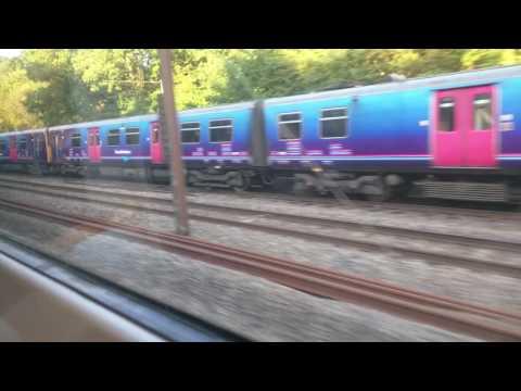 Derailed train at Welwyn Garden City