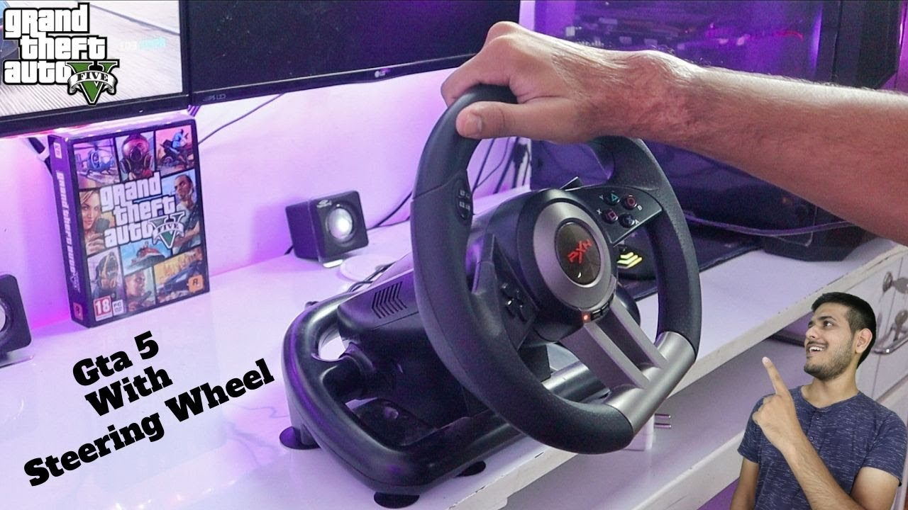 Playing GTA 5 With Budget Steering Wheel In 2019.
