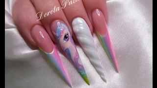 Unicorn nails, unicorn nail art, unicorn horn tutorial nails, rainbow shiny unicorn 3D gel horn