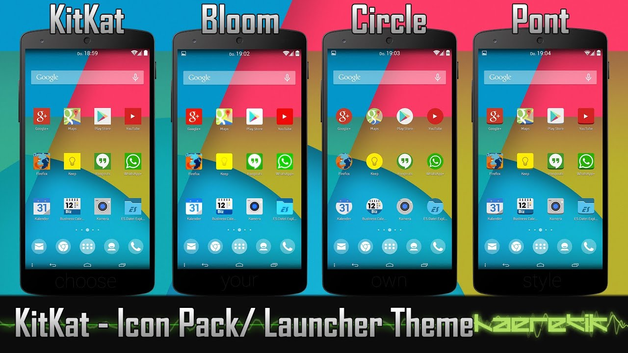 android kitkat 4 4 icon pack and theme nova apex go launcher ex and more youtube