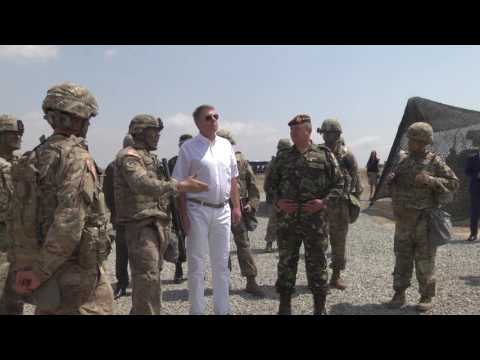President of Romania visits US troops at MK Air Base, Romania