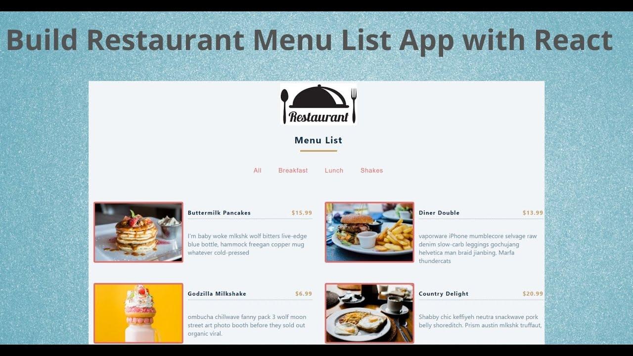 Build Restaurant Menu List App using React | React JS Beginner Project