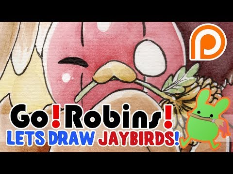 Art time lapse: A new Go!Robins! Give-Away print! thumbnail