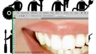Как сделать белые зубы в фотошопе ,Фотошоп урок  по отбеливанию зубов