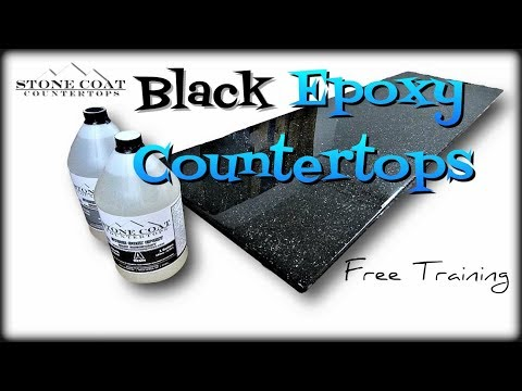 Quartz Black Epoxy Countertops with Silver Mica Flakes
