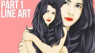 1/5 Vector Portraits Photoshop Tutorial Line Art