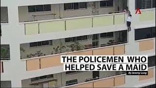 Hero policemen help save maid dangling from 5th storey in Bukit Panjang
