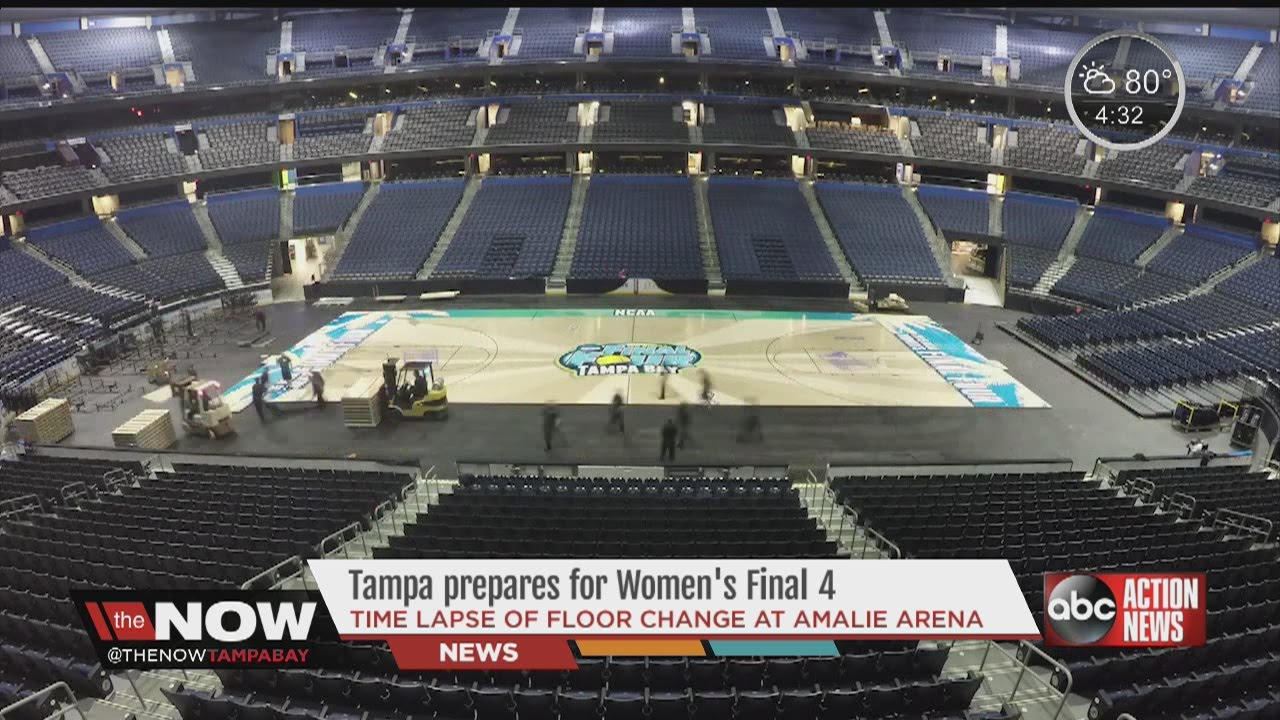 Timelapse Of Floor At Amalie Arena Being Switched Out For