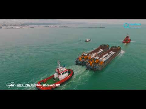 Drone view Double Towage in Varna, Bulgaria - Organized by A