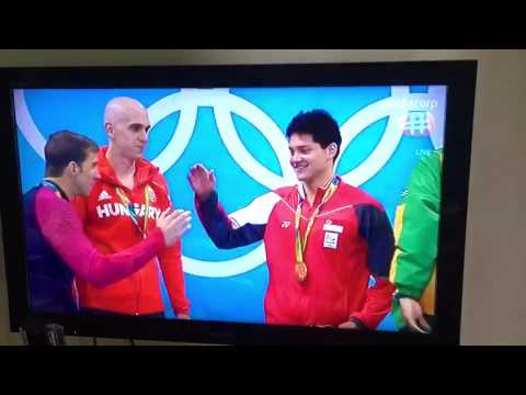 Majulah Singapura playing at the Olympics as Joseph Schooling gets his gold medal