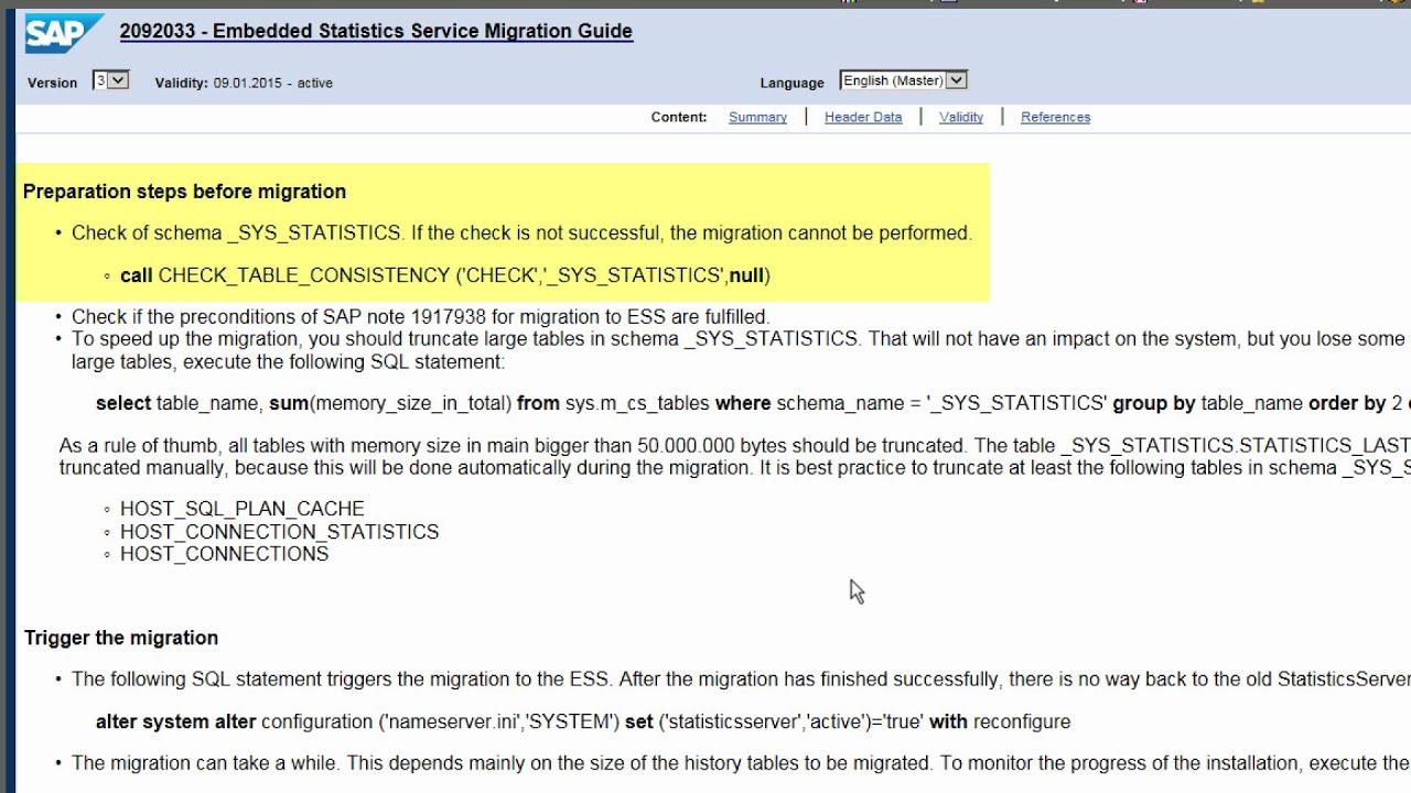 [Archived][1 0 SPS 09] SAP HANA Administration: Embedded Statistics Server  - SAP HANA Academy