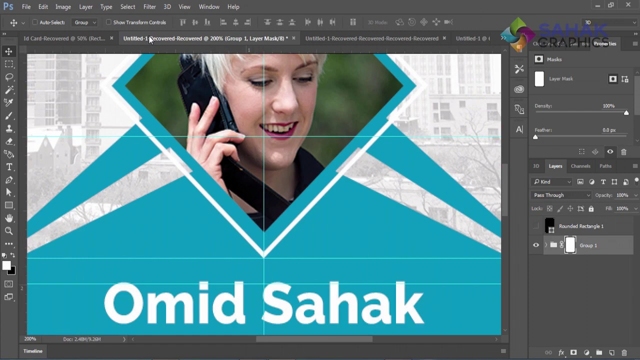 Id Card Design Tutorial In Photoshop Cc 2019 تصميم كرت تعريفي