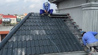 Construction Craft Method // Install Roof With Roofing Tiles On Fixed Frame