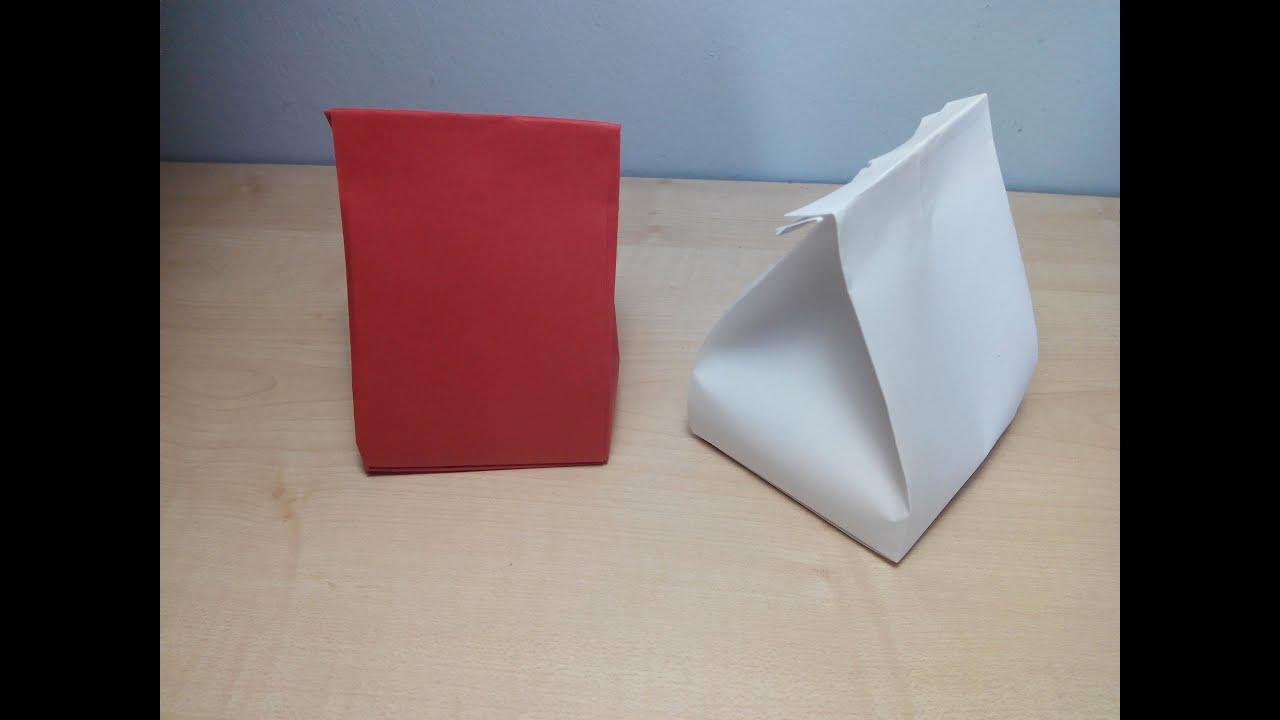 Como hacer una bolsa de papel para regalos origami3 youtube - Hacer bolsas de papel en casa ...