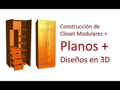 Construcci n de closet modulares planos dise os en 3d for Disenos de zapateras para closet