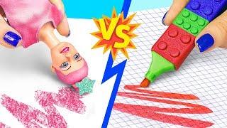 10 DIY Barbie Schulsachen vs Lego Schulsachen! Challenge!