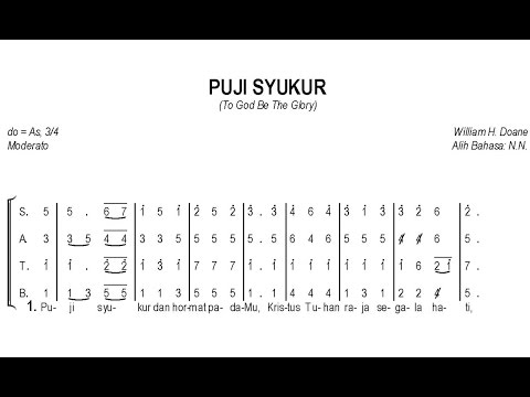 Puji Syukur – To God Be The Glory | SATB – Teks Kor Rohani Not Angka