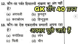 GK Quiz top 40 प्रश्न | Gk practice paper | GK in hindi | General knowledge in hindi |SSC GK