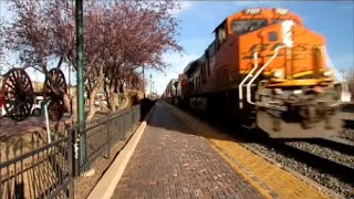 Close encounter with BNSF stack in Flagstaff. Listen to DPUs at the end!