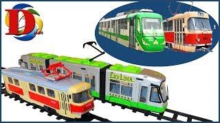 Трамвай зеленый игрушка, железнодорожный транспорт мультики про машинки Dickie Toys City Liner Обзор