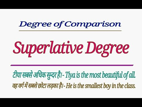 DEGREE OF COMPARISON - SUPERLATIVE DEGREE | USES OF SUPERLATIVE DEGREE IN ENGLISH HINDI