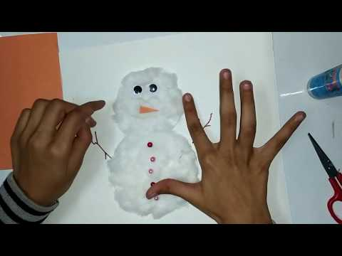 Easy way to make a snowman with paper and cotton /DIY Snow màn Making
