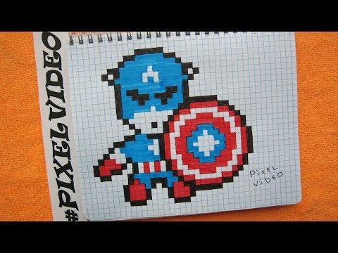 Как рисовать Капитан Америка / Рисунки по клеточкам #pixelvideo