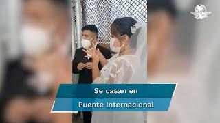 Juan Pedro y Jimena Guadalupe decidieron unir sus vidas en la línea divisoria de México con Estados Unidos; ambos son sordos, por lo que interpretes de LSM los auxiliaron en la ceremonia