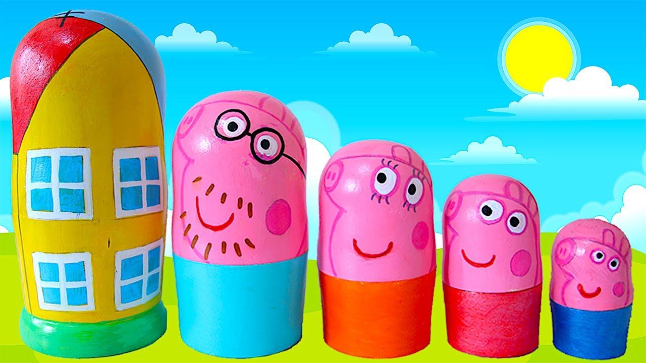 Peppa Pig Nesting Dolls Toy Surprises! Opening Nesting Eggs Blind Bags for Kids!