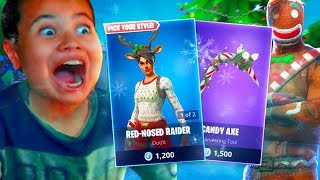 SURPRISING MY LITTLE BROTHER WITH RED NOSE RAIDER & CANDY AXE! *BURNT* GINGERBREAD FORTNITE REACTION