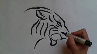 °°°How to draw tiger  tattoo....طرسقة رسم نمر وشم