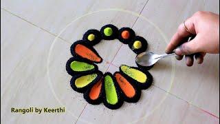 Super easy flower rangoli for diwali using fork & spoon l diwali rangoli design l rangoli by keerthi