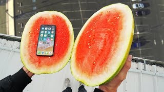 CAN A WATERMELON PROTECT iPhone X from 100ft DROP TEST!?
