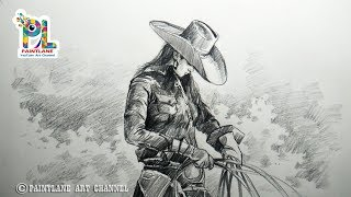 Learn How to Draw and Shade A Cowgirl Hold A Rope With PENCIL | Speed Pencil Drawing