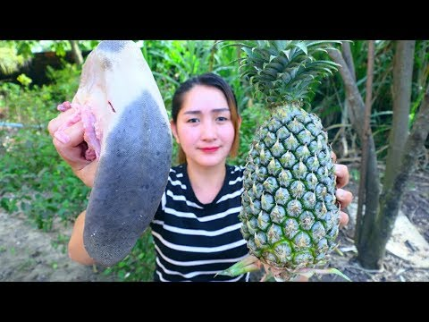 Yummy Cow Tongue Cooking Pineapple - Cow Tongue Recipe - Cooking With Sros
