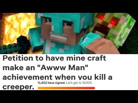 "Minecraft Getting A ""Creeper Aw Man"" Achievement???"