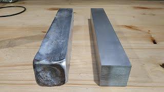 Фрезеровка отлитого бруска алюминия