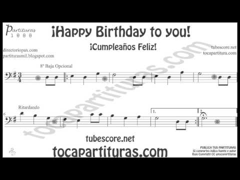 Happy Birthday to You Sheet Music in Bass Clef for Trombone, Cello, Bassoon, Tube, Euphonium...