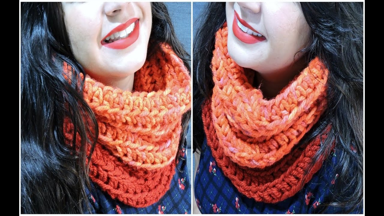 Cuello de ganchillo fácil - Easy crochet infinity scarf - YouTube