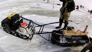 Catching of pike perch on the balancer.The direction of a large pike perch / Sudak in winter