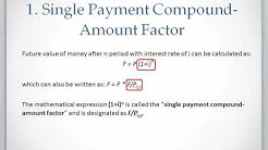 Lesson 1 video 2: Single Payment Compound Amount Factor (future value)